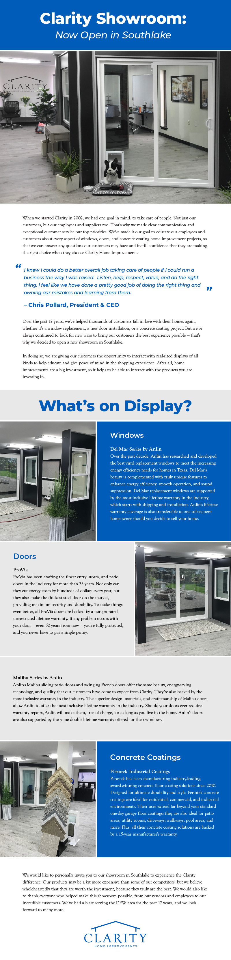 Southlake Showroom Infographic
